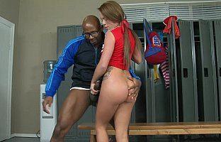 Big black cock in a Cheerleader's ass